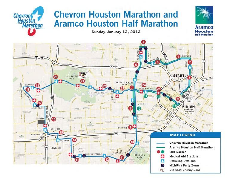 mapa houston marathon 2013