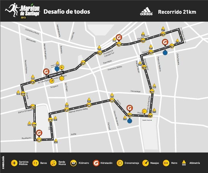 recorrido santiago 2013 21K