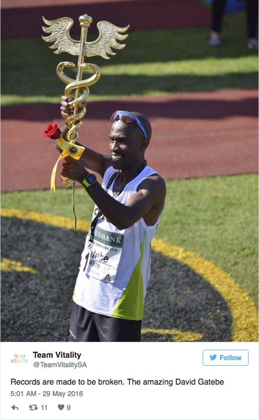 David gatebe gana Comrades marathon 2016