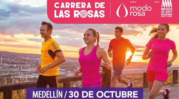 Carrera de Las Rosas 2016 en Medellín apoyando a la mujer (Col)