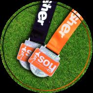 medalla negra y naranja carrera virtual no competitiva soymaratonista