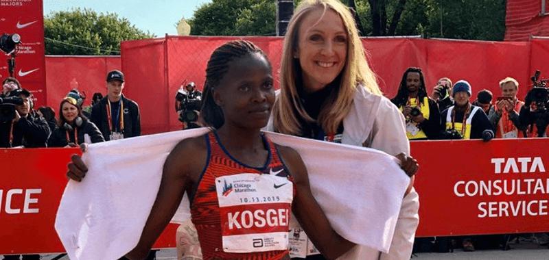 Brigid Kosgei y Paula Radcliffe posan juntas en Chicago 2019