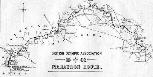 Distancia recorrida durante el maratón de las olimpiadas en Londres de 1908
