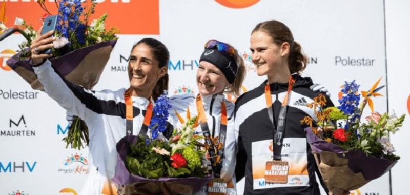 El podio femenino en Twente 2021